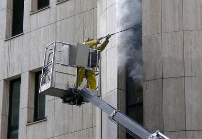 Nettoyage de façade : Le nettoyage haute pression.
